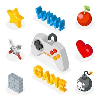 Ícones de jogos isométricos. ícones 3d planos com símbolos de jogos.