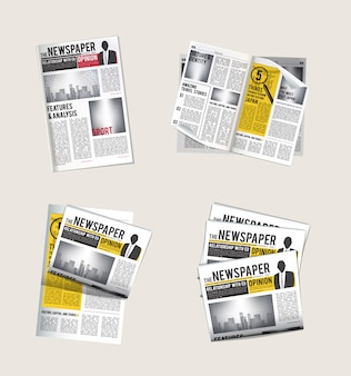 Ícones de jornais. coleção de jornalista de leitura de notícias diárias com símbolos de vetor de tablóide de manchetes de jornal
