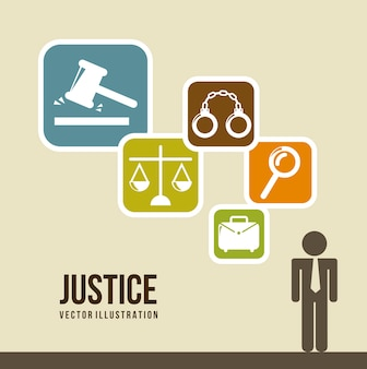 Ícones de justiça sobre ilustração vetorial de fundo bege