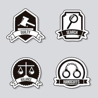 Ícones de justiça sobre ilustração vetorial de fundo cinza