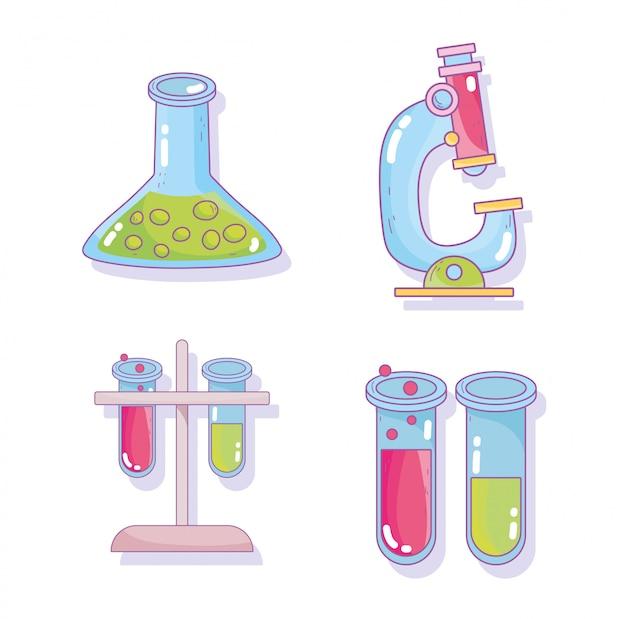 Ícones de laboratório de pesquisa de microscópio de tubo de ensaio de ciência
