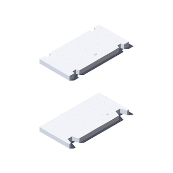 Ícones de laje de concreto em vista isométrica. materiais de construção para fins de construção. isolado em um fundo branco, em estilo simples.