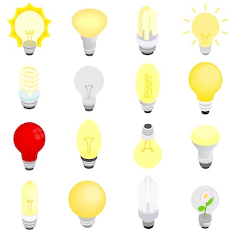 Ícones de lâmpadas em estilo 3d isométrico isolado no branco