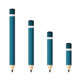 Ícones de lápis em um design plano isolado no branco