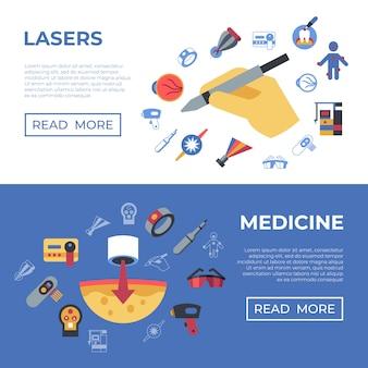 Ícones de lasers de saúde médicos