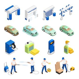 Ícones de lavagem de carro conjunto com símbolos de lavagem de carro automático isométrico isolado