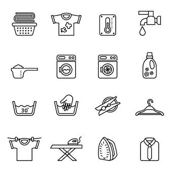 Ícones de lavanderia. ícones de tarefas domésticas.