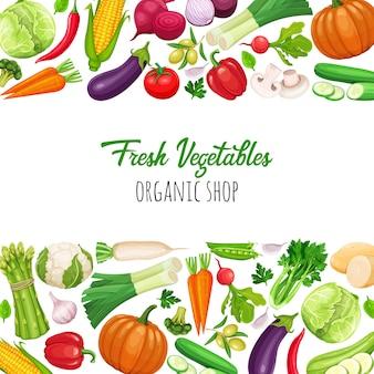 Ícones de legumes definidos no estilo cartoon.
