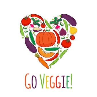 Ícones de legumes no quadro de forma de coração