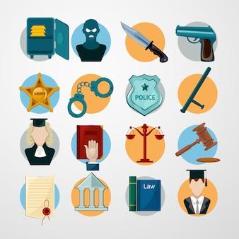 Ícones de lei planas