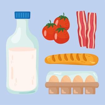 Ícones de leite e comida