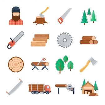 Ícones de lenhador definidos em estilo simples