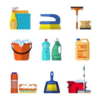 Ícones de limpeza conjunto com esfregão e luvas