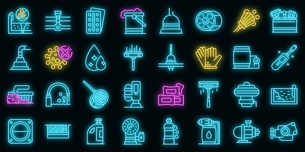 Ícones de limpeza de piscina definidos vetor neon