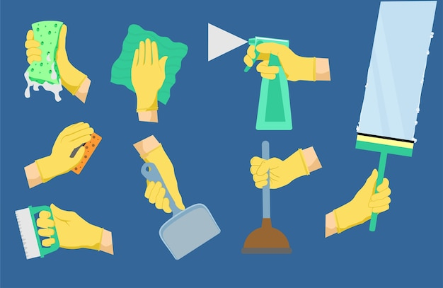 Ícones de limpeza. ferramentas de limpeza com as mãos.