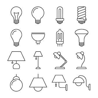 Ícones de linha da lâmpada