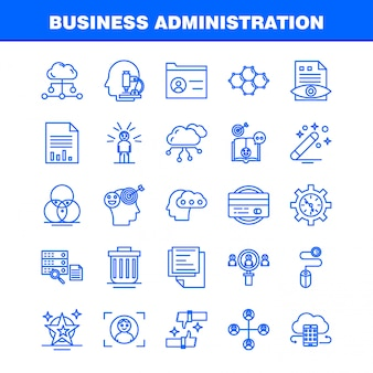 Ícones de linha de administração de empresas