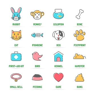 Ícones de linha de animais com cores planas