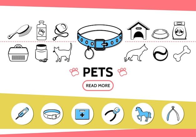 Ícones de linha de animais de estimação definidos com cão, gato, pente, alimentação, guia, pílulas, casinha, cavalo, osso, cortador de unhas médico