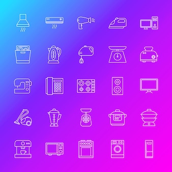 Ícones de linha de aparelhos domésticos. ilustração em vetor de símbolos eletrônicos de contorno sobre fundo desfocado.