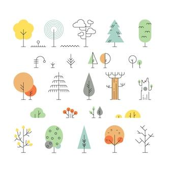 Ícones de linha de árvores da floresta com formas geométricas simples
