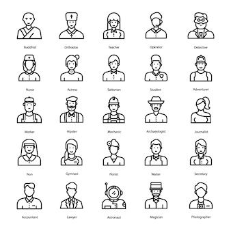 Ícones de linha de avatares humanos