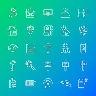 Ícones de linha de casa. ilustração em vetor de símbolos imobiliários de contorno sobre fundo desfocado.