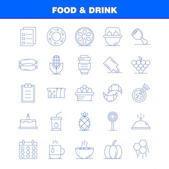 Ícones de linha de comida e bebida