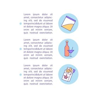 Ícones de linha de conceito de abuso de drogas com texto