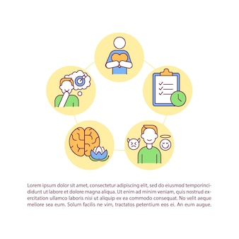 Ícones de linha de conceito de autocontrole com texto