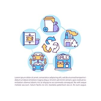 Ícones de linha de conceito de descarte de bens e serviços com texto