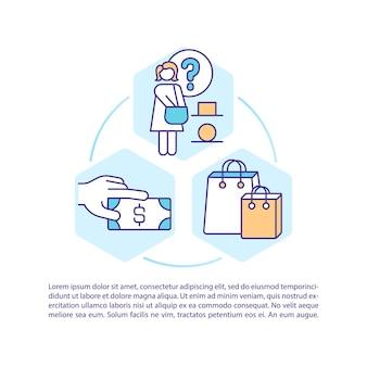 Ícones de linha de conceito de estilos de decisão do consumidor com texto