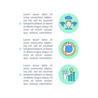 Ícones de linha de conceito de gerenciamento de estresse com texto