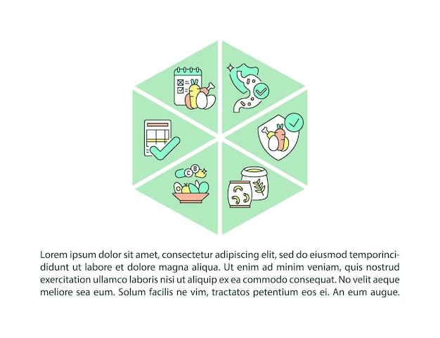 Ícones de linha de conceito de padrões de alimentação escolar com texto