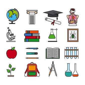 Ícones de linha de cor de educação