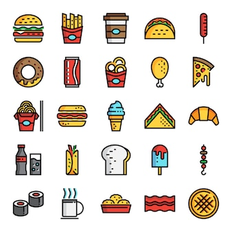 Ícones de linha de cor perfeita de pixel de fast-food
