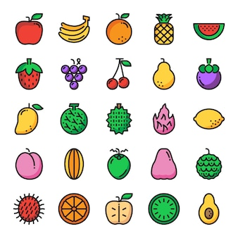 Ícones de linha de cor perfeita de pixel de fruta