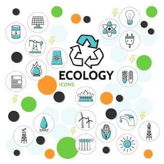 Ícones de linha de ecologia definidos com barril de petróleo, painel solar, lâmpada elétrica, soquete, bateria, torneira, perfuração, moinho, lixo