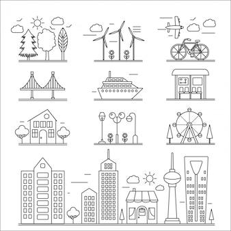 Ícones de linha de edifícios de paisagem da cidade