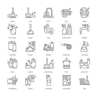 Ícones de linha de equipamento de limpeza
