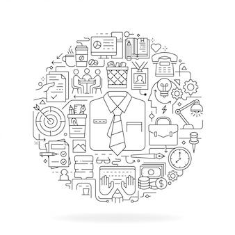 Ícones de linha de escritório em forma redonda isolado