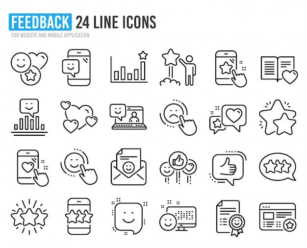 Ícones de linha de feedback. conjunto de opinião do usuário, atendimento ao cliente e classificação por estrelas.