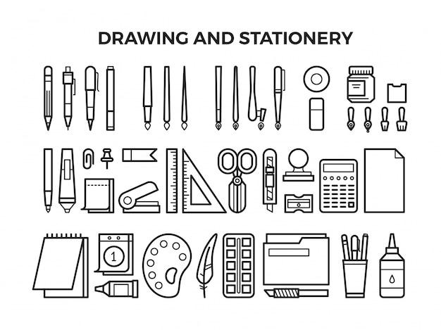 Ícones de linha de ferramentas de papelaria e desenho de escritório