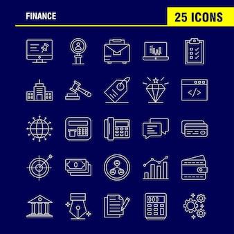 Ícones de linha de finanças definido para infográficos, kit de ux / ui móvel