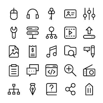 Ícones de linha de interface do usuário