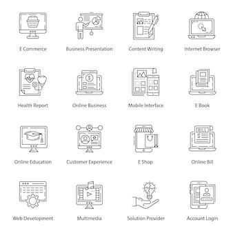 Ícones de linha de interface e ux