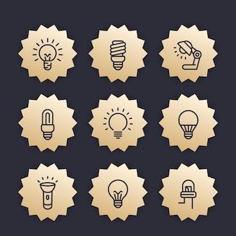 Ícones de linha de lâmpadas, emblemas vetoriais, led, fluorescente, cfl, halogênio