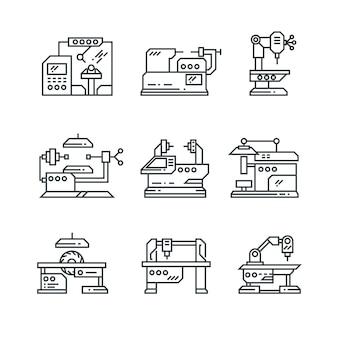 Ícones de linha de máquinas industriais.