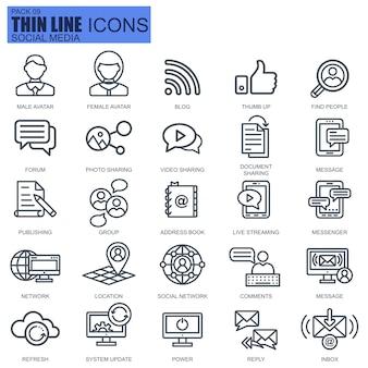 Ícones de linha de marketing na internet e rede social