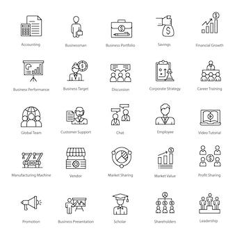 Ícones de linha de pacote de negócios